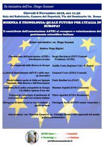 """""""SCIENZA E TECNOLOGIA: QUALE FUTURO PER L'ITALIA IN EUROPA?""""  """"Il contributo dell'associazione ASTRI al recupero e valorizzazione del patrimonio scientifico italiano"""""""