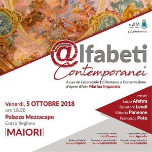 """Il 5 Ottobre si inaugura a Palazzo Mezzacapo di Maiori la mostra """"@lfabeti Contemporanei"""". Aperta fino al 3 novembre 2018"""
