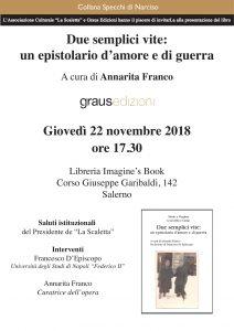 Salerno, alla libreria Imagine's Book viene presentatoDue semplici vite: un epistolario d'amore e guerraa cura di Annarita Franco