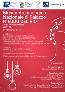 Un giorno all'anno tutto l'anno  Museo Archeologico Nazionale di Palazzo Nieddu Del Rio  Locri (Reggio Calabria)