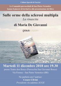 """San Pietro Vernotico, Maria De Giovanni presenta il secondo volume del libro autobiografico """"Sulle orme della sclerosi multipla"""""""