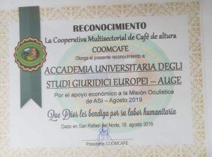 """L'AUGE sempre in prima fila per eventi benefici;insignita del prestigioso riconoscimento dalla Cooperativa """"Coomcafe"""""""