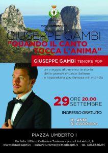 """Il tenore pop Giuseppe Gambi  chiude l'estate caprese domenica 29 settembre con ingresso gratuito  """"Quando il canto tocca l'anima"""""""