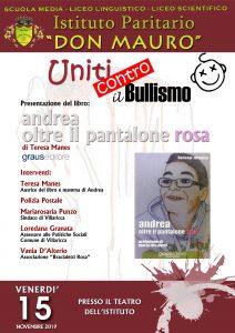 Vnerdì 15 novembre: 'Uniti contro il bullismo' manifestazione che si terrà presso l'Istituto Paritario 'Don Mauro' a Villarica