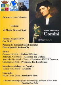 """""""Uomini"""", di Maria Teresa Cipri, sarà presentato al Palazzo dei Principi Spinelli di Scalea"""