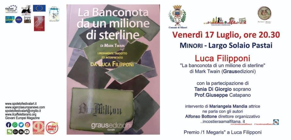 """Minori, Prof. Filipponi presenta """"La banconota da un milione di sterline"""""""