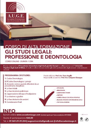 Formazione con AUGE: GLI STUDI LEGALI PROFESSIONALI E DEONTOLOGIA